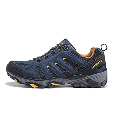 Men's Outdoor Suede Leather Hiking Shoes (9.5 Blue)