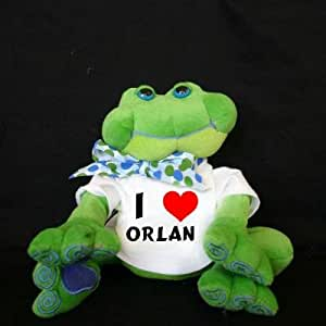 Plush Frog (Thad Polz) toy with I Love Orlan (first name/surname/nickname)