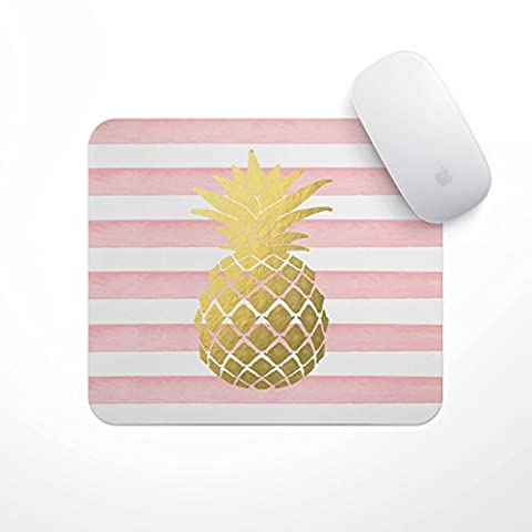 Light Pink Stripe Gold Metallic Pineapple - Carnation Gold Foil Pineapple Mouse Pad, Glitz Mouse Pad Pink and White Stripes Watercolor Mouse Pad Personalized Mouse - Metallic Knot
