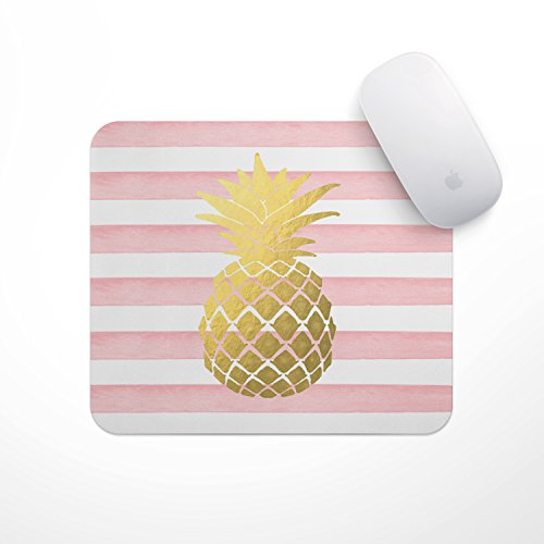 Pineapple Mousepad - Light Pink Stripe Gold Pineapple - Carnation Gold Pineapple Mouse Pad, Glitz Mouse Pad Pink and White Stripes Watercolor Mouse Pad Personalized Mouse Pad