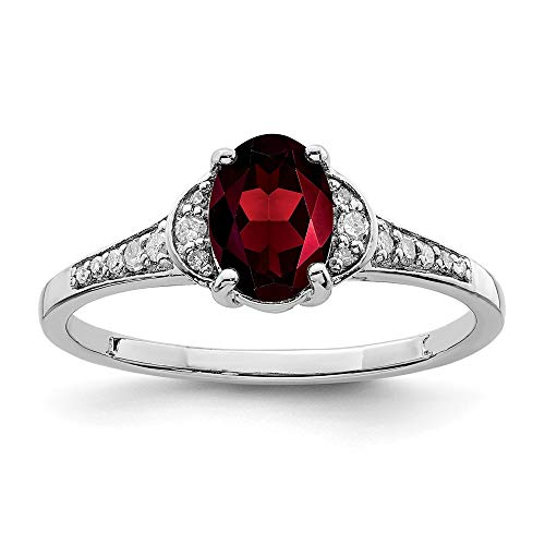925 Sterling Silver Diamond Red Garnet Band Ring Size 6.00 Stone Gemstone Fine Jewelry Gifts For Women For Her ()