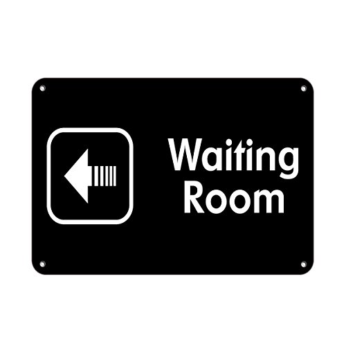 Waiting Room With Left Arrow Feature Department Aluminum METAL Sign 10 in x 7 in