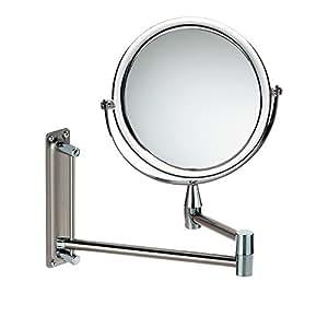 Kela 20721 Grazia - Espejo cosmético articulado de pared (20 cm, aumentos de 1x y 3x, marco acrílico)