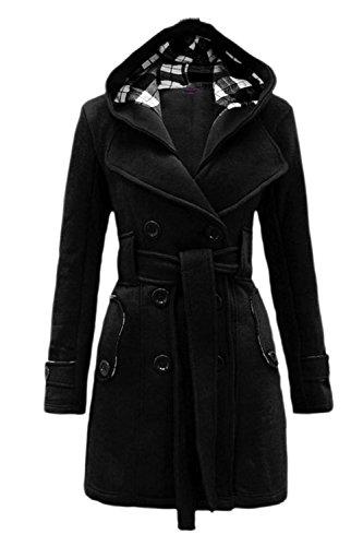 Stile Inverno Outwear Le Cerniera Black Caldo Lo Britannico Donne Impermeabile Felpa Cintura EUqTB