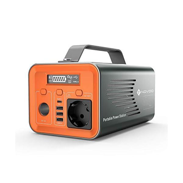41QANgsy7SL NOVOO Powerbank Mit Steckdose,Tragbare Aluminum Powerstation 230v EU 230Wh /62400mAh Akku Generator Batterie,AC/DC-Port…