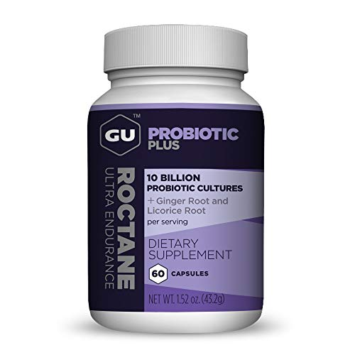 GU Energy Roctane Probiotic Plus Licorice Root Extract and Ginger Capsules, 60-Count Bottle (1-Month Supply)