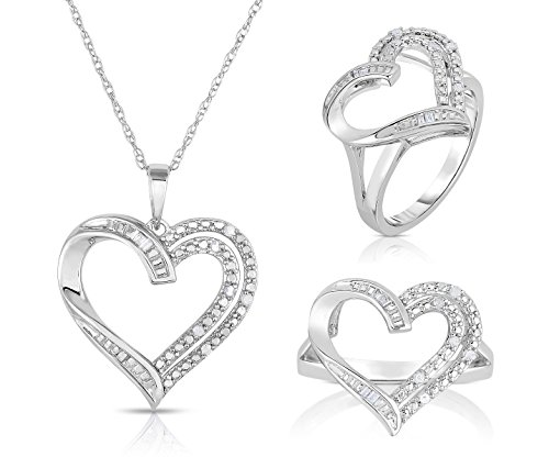 - BLOWOUT SALE Sterling Silver Round and Baguette Diamond Heart Necklace and Ring Set - 1/10 Cttw, Ring Size 7