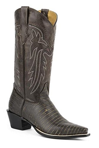 - Roper Women's Faux Teju Lizard Cowboy Boot Snip Toe Brown 9 M US