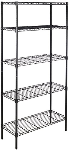 (AmazonBasics 5-Shelf Shelving Storage Unit, Metal Organizer Wire Rack, Black)