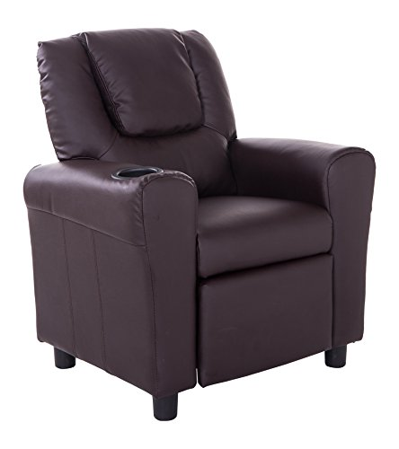 Mochi Furniture KR2009BRN PU Leather Kids Recliner with Cup Holder, Brown