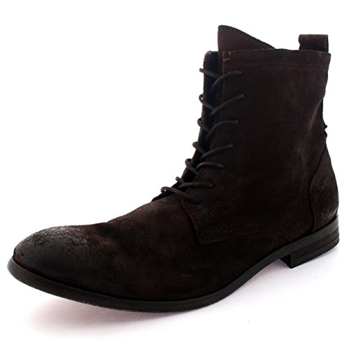 Mens H by Hudson Swathmore Lace up Biker Leather Smart Ankle Boots Shoes Brown 8pyggBEcH