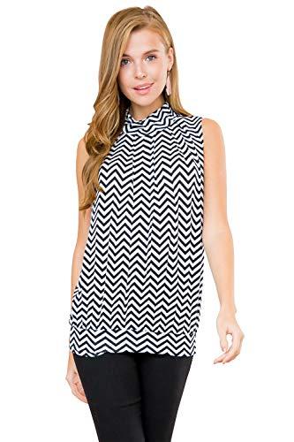 Classic Mock Neck Tank - Pleated Turtleneck Sleeveless Dressy Jersey Top w/Waistband (Chevron - Black White, X-Large)