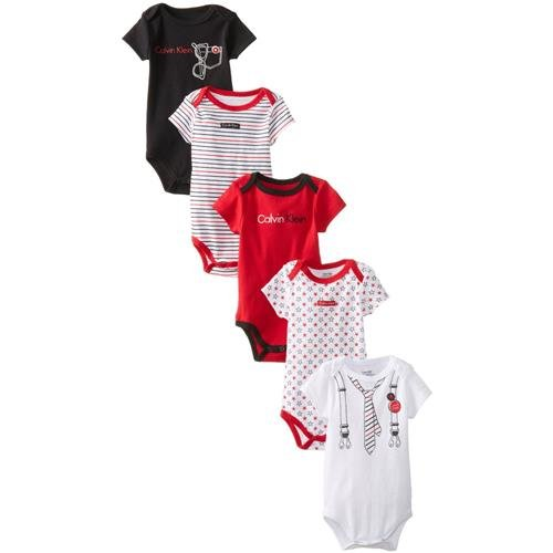 Calvin Klein Baby-Boys Newborn 5 Pack Bodysuit, Red, 3-6 Months