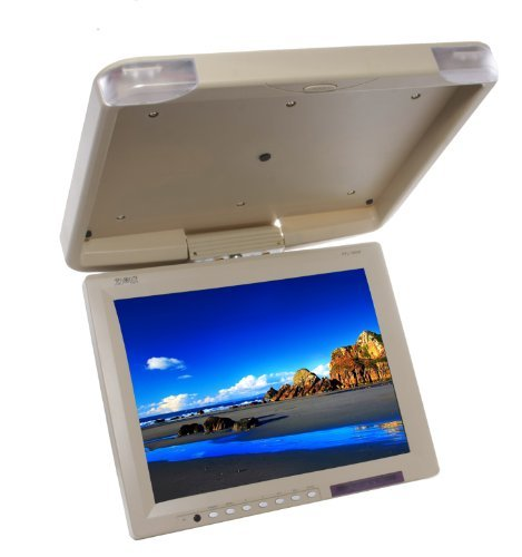 Absolute PFL160IRC 16 Inch Swivable TFT/LCD Flip Down Monitor High Resolution Built-In IR Transmitter and Full Function Remote Control (Tan/Cream)