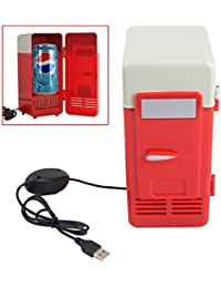 Genmine Mini USB Fridge Portable USB Beer Beverage Drink Cans Cooler/Warmer Refrigerator For Laptop PC Computer Car USB Powered (Red)