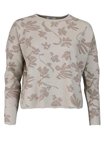 ONLY Langarm Pullover Rundhals Strick Stickereien Muster beige/gold