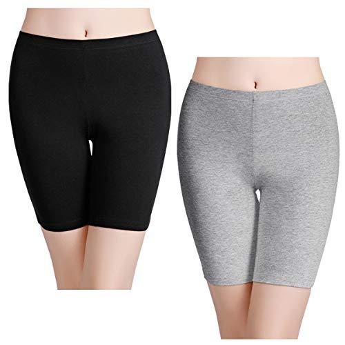 wirarpa Women's Cotton Underwear Boy Shorts Under Dresses Long Leg Panties Anti Chafe Bloomers Black Grey 2 Pack Size 6
