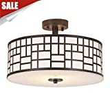 GLANZHAUS 13 Inches Inner White Acrylic Diffuser Outer Oil-Rubbed Bronze Finish Flush Mount Ceiling Light, Modern Lighting for Hallway Dining Room Living Room Bedroom