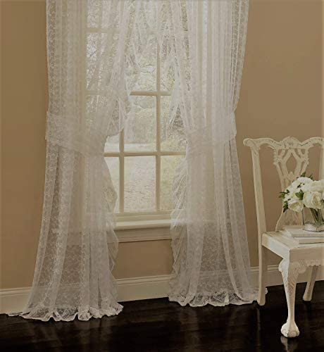 Ben Jonah Traditional Elegance by Ben Jonah Floral Scroll Sheer Lace Ruffled Panel Pair 130 W x 63 L with 2 Tiebacks-Ivory Window Curtain