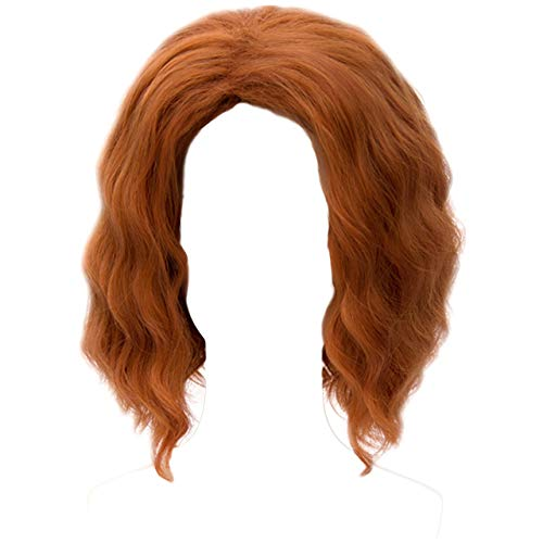 MSHUI The Avengers Black Widow Natasha Costume Cosplay Wig Short Wavy Fluffy Hair Orange