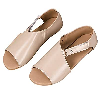 TURNMEON Women Flat Sandals Casual Summer Slip On Sandals Fish Mouth Slingback Peek Toe Flat Shoes Cork Sole Leather Flat Mayari Sandals Back to School Grey Size: 5