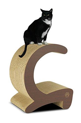 Oliver & Iris Premium Cat Scratcher C Curved Post and Cubby, Wenge