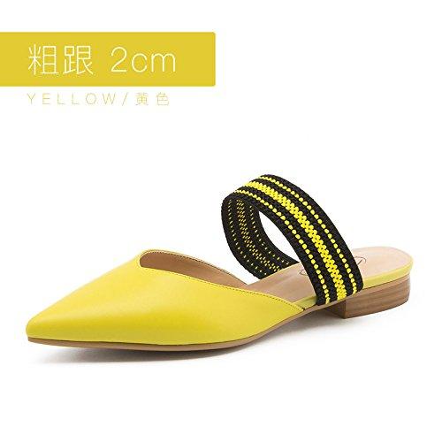 Jqdyl Tacones Verano Femenino USA Tacones Altos Acentuados Fuera de Usar Zapatillas Baotou al Aire Libre Yellow 2cm