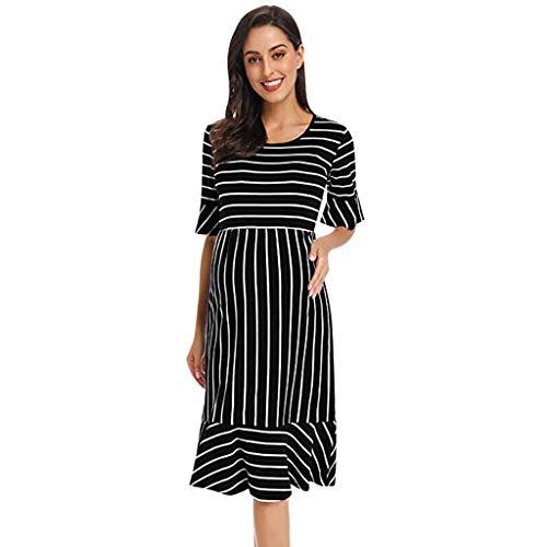 Luonita Women Maternity Casual Stripe Dress Short Sleeve Ruffle Slim Mermaid Pregnant Sundress (Advance Sleeve Short Sundress)