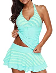 0823f2ff67410 Alangbudu Women Halter Two Piece Striped Print Tankini Top with Swim Skirt  Swimsuit Set