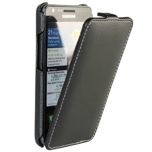 Cell Phone I9100 (iGadgitz Black Genuine Leather Flip Case Cover Holder for Samsung i9100 Galaxy S2 Android Smartphone Cell Phone. SUITABLE FOR AT & T MODEL ONLY (model number SGH-I777).)