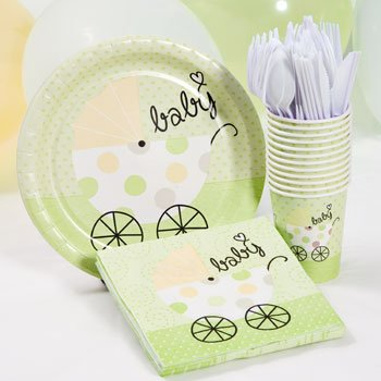 Amazoncom Green Baby Shower Plate Cup And Napkins Set Neutral