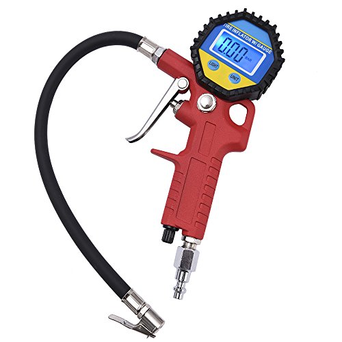 MICTUNING Portable Tire Inflator, Digital Tire Pressure Gauge with Lock-On Air Chuck - 150PSI, 10BAR, 1000KPA, 10KG/CM2