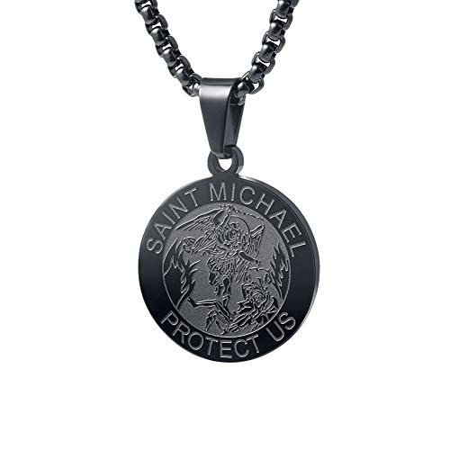 (Wolentty Saint Michael Necklace - 1 Inch Stainless Steel Round St. Michael Religious Medal Pendant Hanging with 24