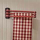 Park Designs 3 Prong Wood Towel Rack Distressed Red