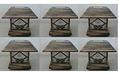 """6 Kits New Bronze Outdoor Garden Solar Panel Post Deck Cap Light to Fit Wood post (4x4 = 3.5"""" x 3.5"""")"""