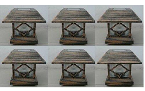6 Kits New Bronze Outdoor Garden Solar Panel Post Deck Cap Light to Fit Wood post (4x4 = 3.5