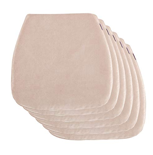 Nobildonna 6 Pack Burlywood 16″ x 16″ Memory Foam Chair Pad with Non Slip Chair Pads Kitchen Dining Home Décor