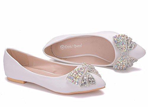 De Moojm Rhinestone 01ABF Pisos Fiesta Zapatos Estrecha Ballet Vestido Punta Boda Ager Flower White Zapatos Bow Mujeres AO0xnAqH