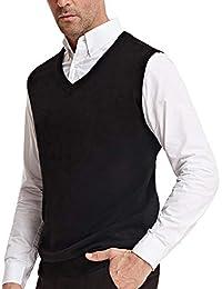 Men's V-Neck Knitting Vest Classic Sleeveless Pullover Sweater Vest