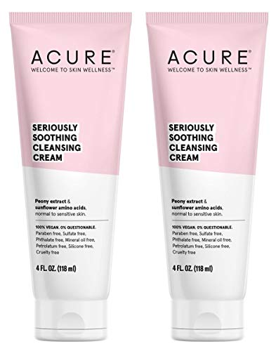 Acure Organics Natural Sensitive Face Wash Cleanser With Argan Oil For Face, Jojoba Oil, and Aloe Vera Extract With No Harmful Chemicals, Sulfates or Parabens, 4 fl. oz. each (Pack of 2)