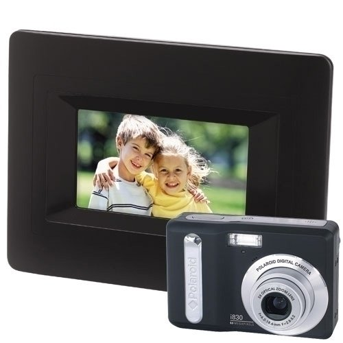 Polaroid i830 - Digital camera - compact - 8.0 Mpix - optical zoom: 3 x - supported memory: MMC, SD, SDHC - black - with Polaroid DPA-0600 6