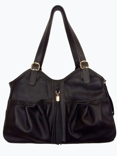 Petote Metro Couture All Leather with Tassel Dog Carrier, Midnight, Petite by Petote