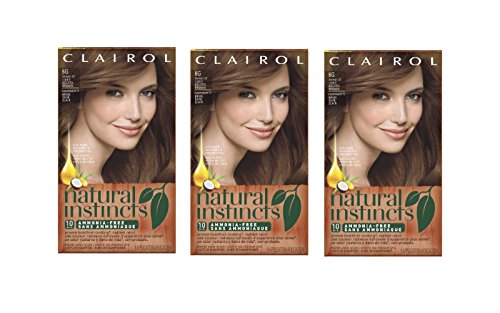 Clairol Natural Instincts Semi-Permanent Hair Color Kit (Pack of 3), 6G 12 Toasted Almond Light Golden Brown Color, Ammonia Free from Clairol