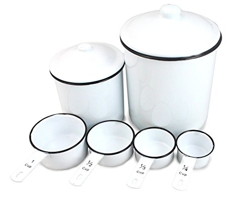 WellPackBox Vintage White Tin Enamel Kitchen Set with 2 Canisters and Matching Measuring Cups