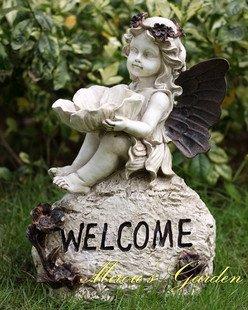 ヨーロピアン スタイル アンティーク風 かわいい 妖精 天使の ウェルカム オブジェ ガーデングッズ B00IBTQJ34