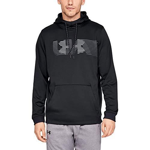 (Under Armour Men's Armour Fleece Spectrum Pullover Hoodie, Black (001)/Steel, X-Large)