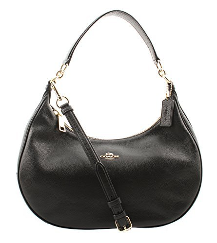 Coach Pebble Leather Harley East West Hobo in Black, F38250 IMBLK (Coach Handbags Hobo)