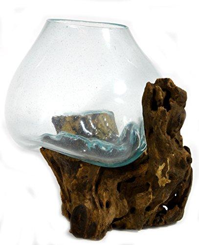 (Hand Mouth Molten Glass Bowl Drift Base Wood Nautical Fish Aquarium Terrarium )