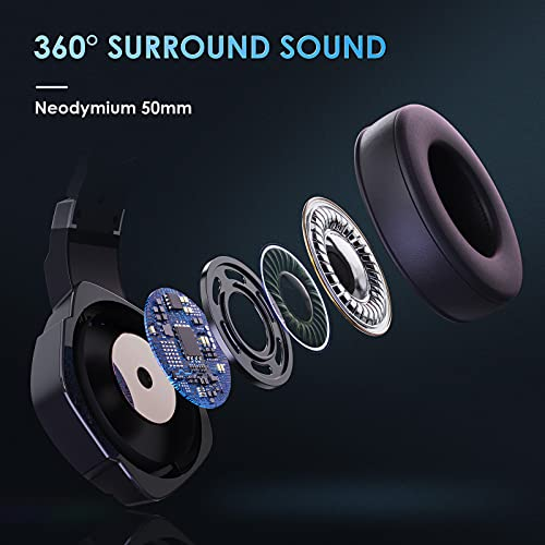 7.1 Stereo Bass Surround Sound Gaming Headset for PS4 PS5 PC Laptop, USB Jack Over Ear Wired Gaming Headphones with Noise Canceling Mic, LED RGB Light,1pcs Free USB Type C Cable Adapter
