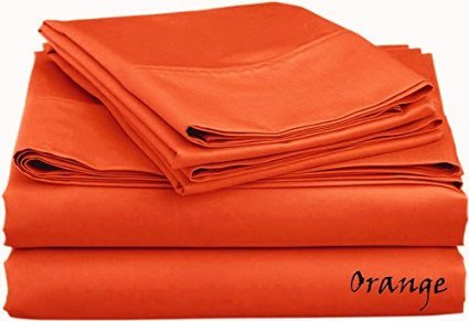 Made in India 600- Thread-Count 100% Percent Egyptian Cotton { Solid } Patterned Colors 4-Pieces Sheet Set - King Size - Orange Color - Fit Extra Deep Pocket { 15'' Inches } By James Linen